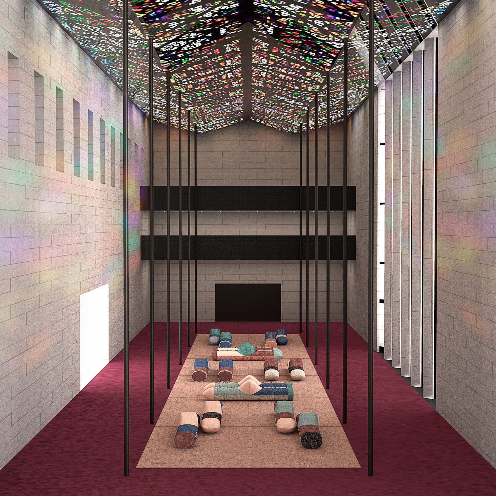 Render of Patricia Urquiola's Recycled Woollen Island installation at NGV Triennial 2020