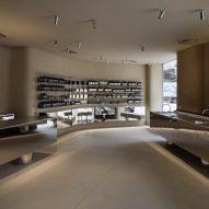 Aesop in Shinjuku features plaster walls and steel fixtures