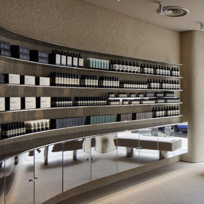 Aesop in Shinjuku features plaster walls and steel fixtures