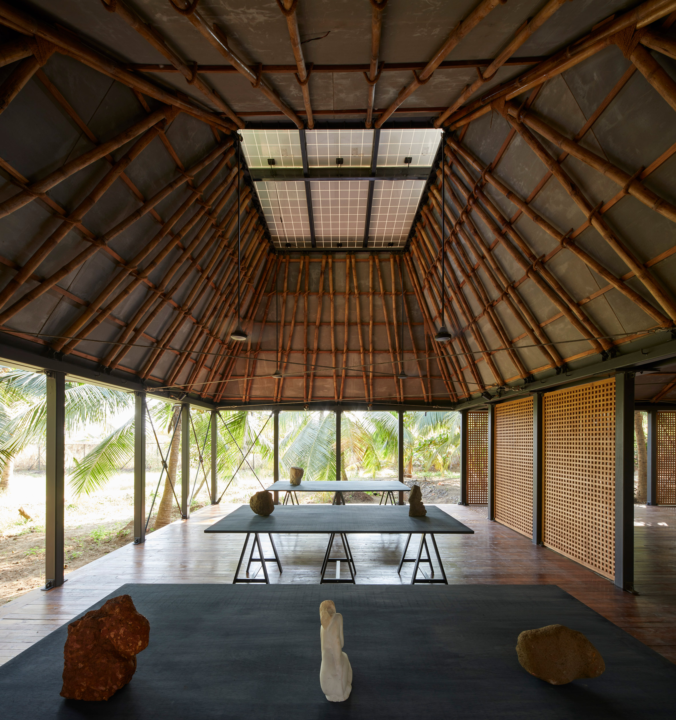 A pavilion with a bamboo structure