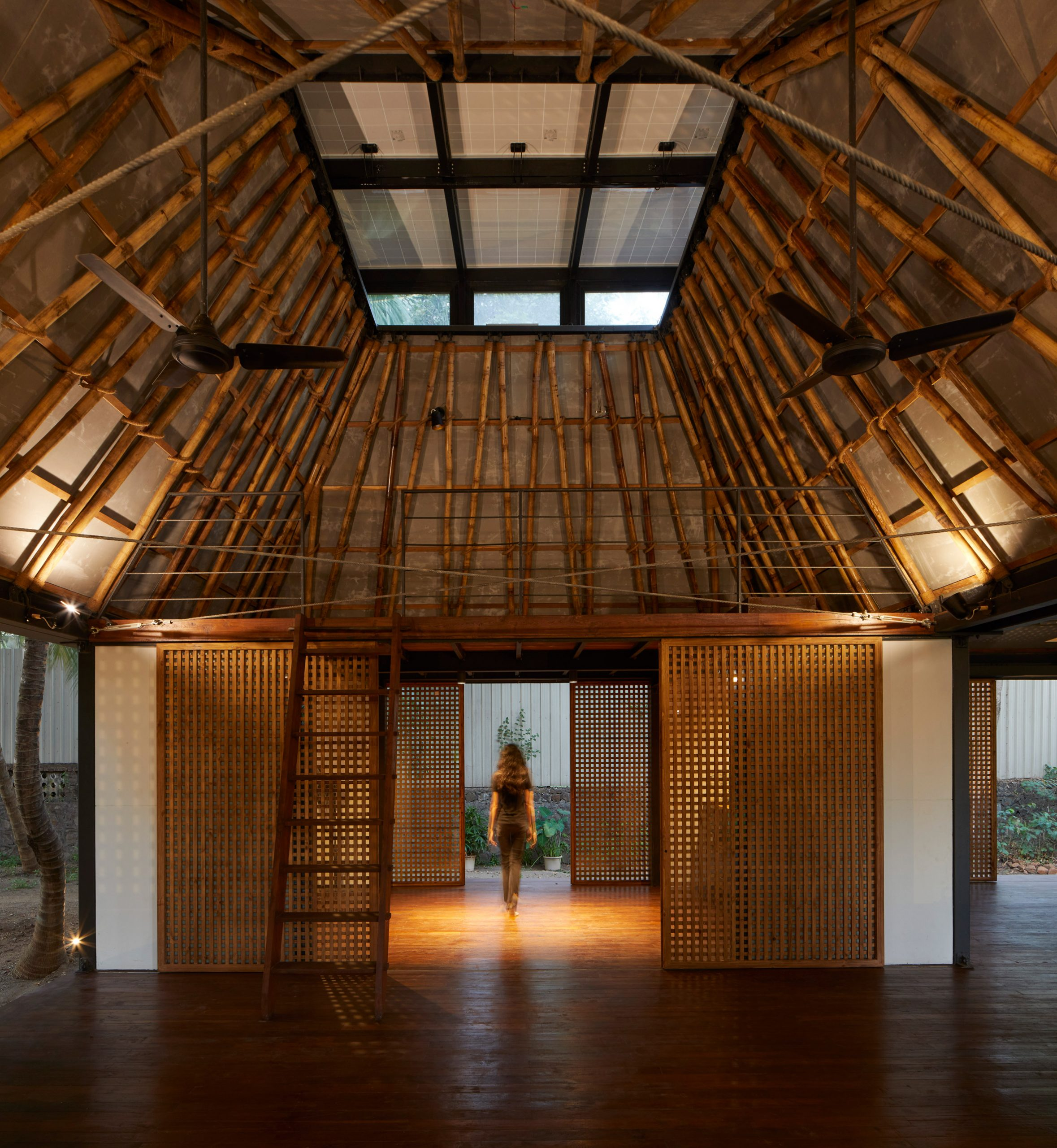 Bamboo roof of Mumbai Artist Retreat by Architecture Brio in Alibag, India