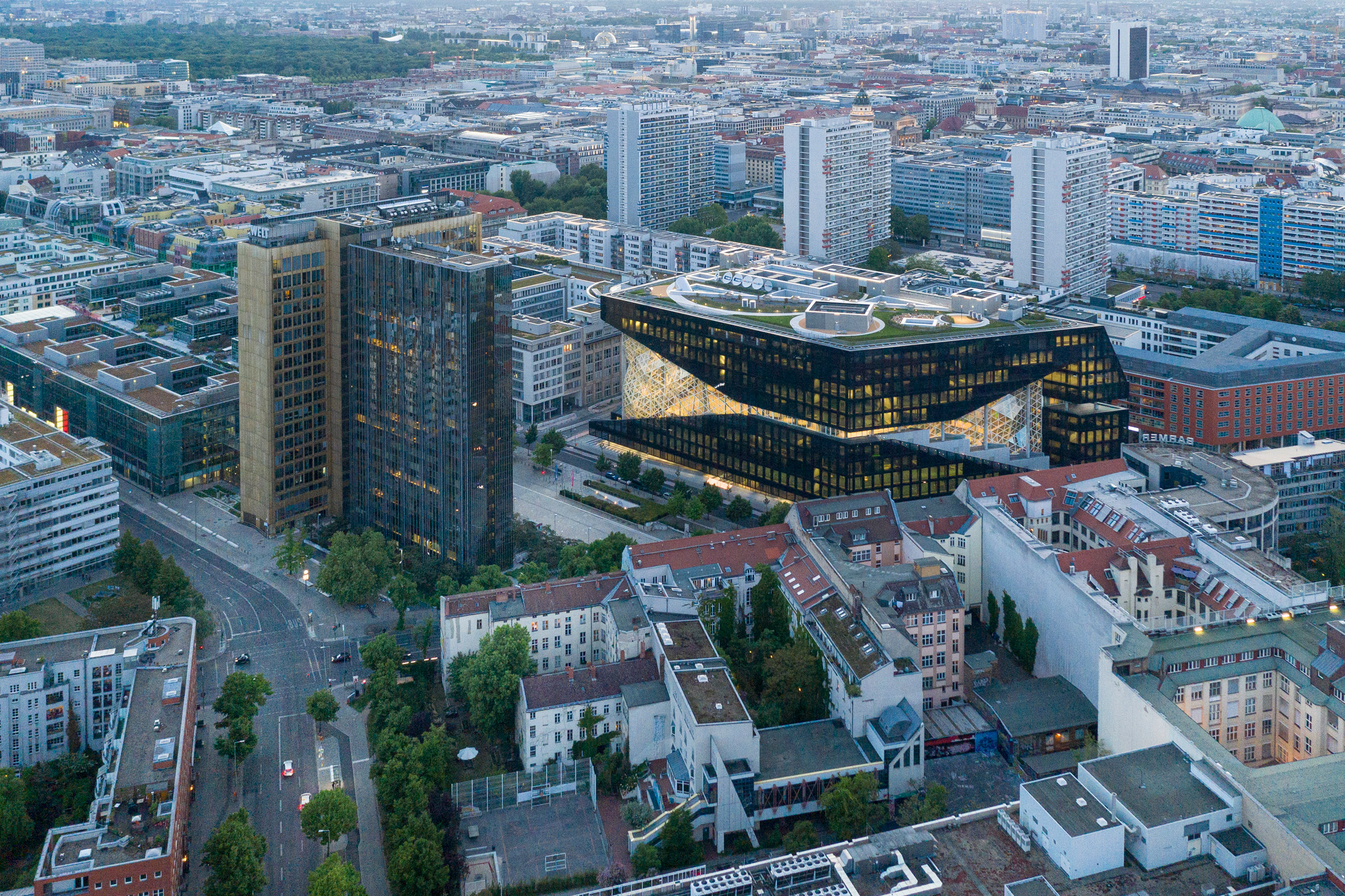 Aerial view of Axel Springer building by OMA in Berlin, Germany