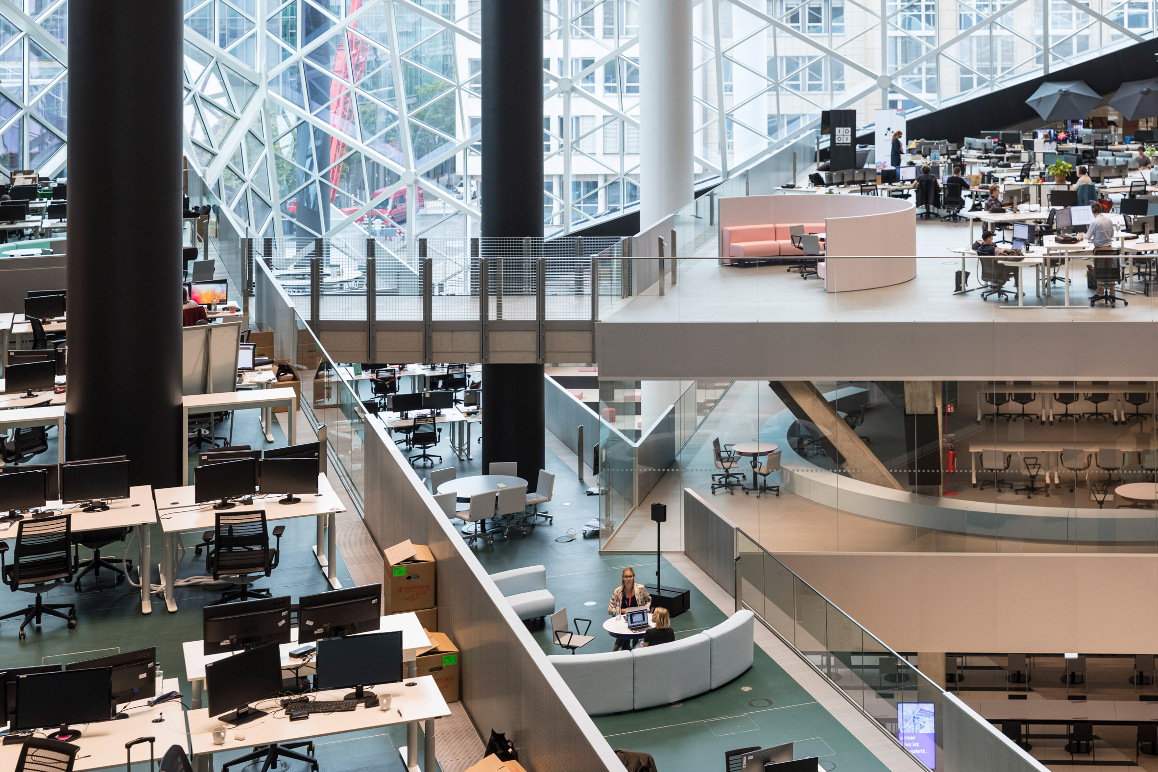 Interior of Axel Springer building by OMA in Berlin, Germany