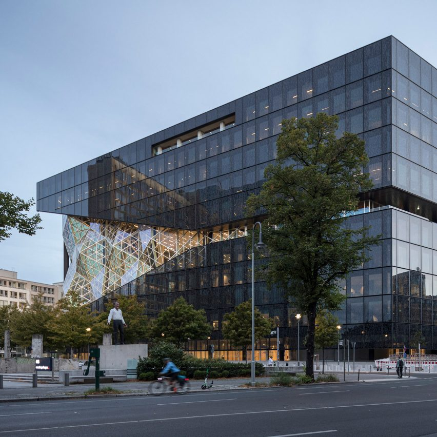 Exterior of Axel Springer building by OMA in Berlin, Germany