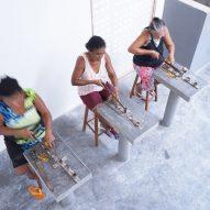 Quebradeiras at work at Babassu flour factory by Estudio Flume