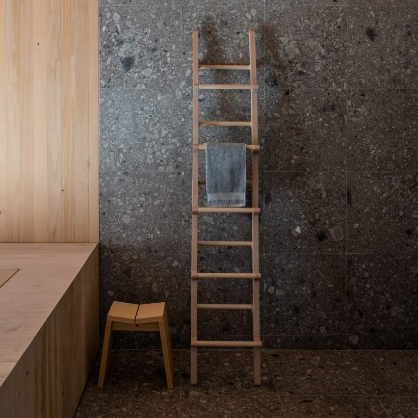 Dark bathroom inside House 23, USA, by Vondalwig Architecture