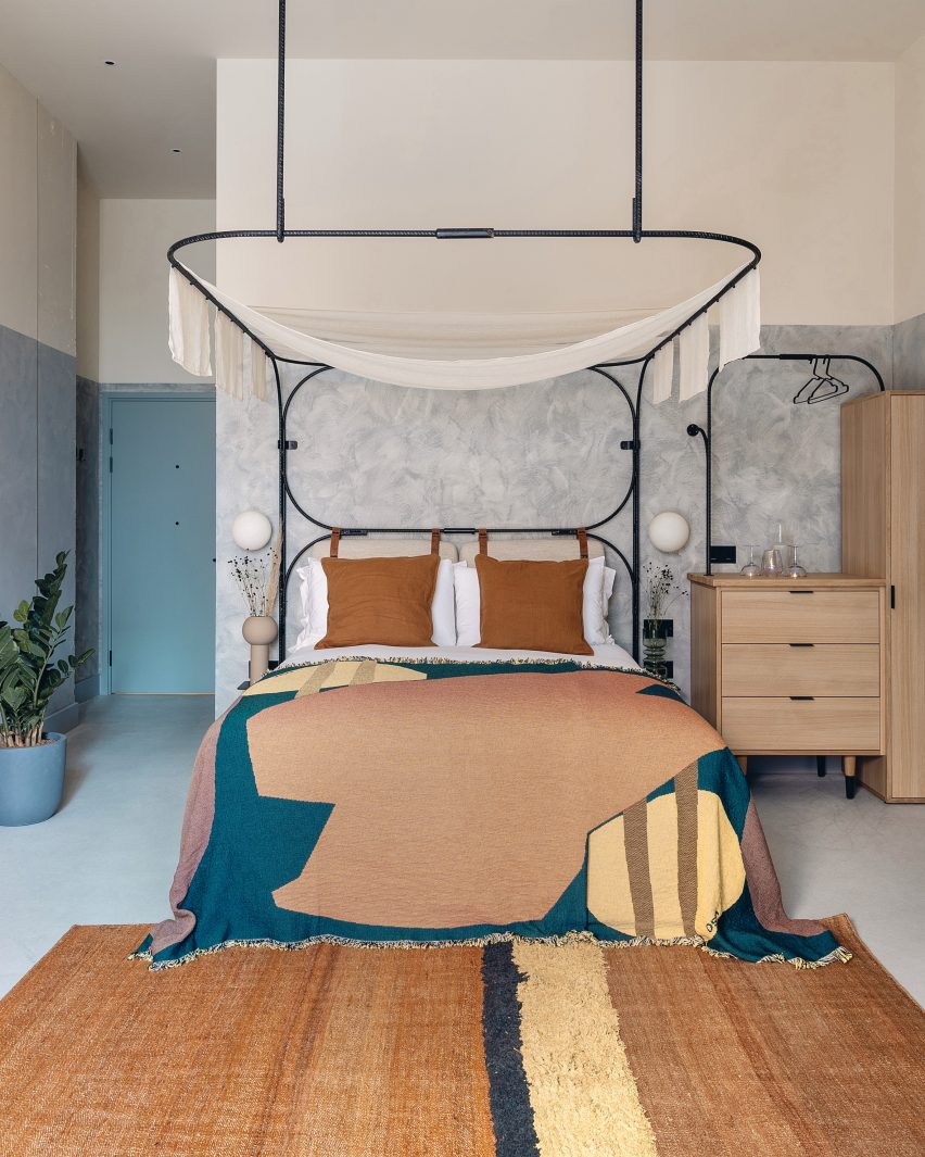 Guest bedrooms of London's Bermonds Locke hotel designed by Holloway Li