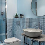 Guest bathrooms of London's Bermonds Locke hotel designed by Holloway Li