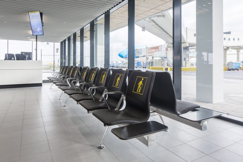 Richard Hutten melts down Schiphol airport's old chairs for a new seating system with Lensvelt