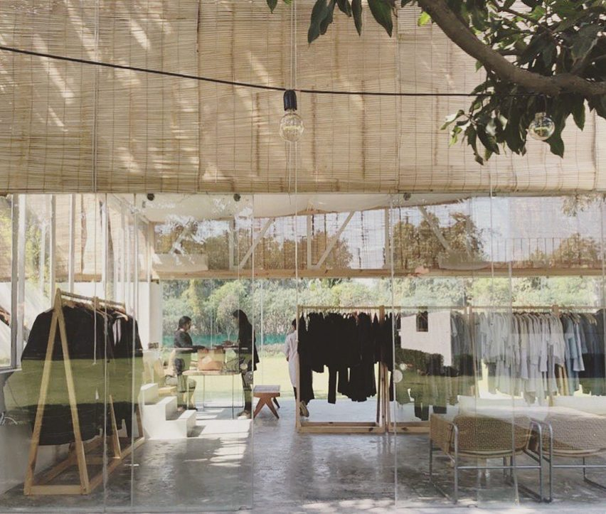 Bamboo screens cover Bodice flagship in New Delhi