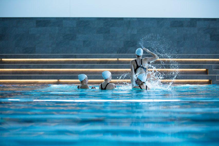 Swimming in Bølgen Bath and Leisure Centre by White Arkitekter