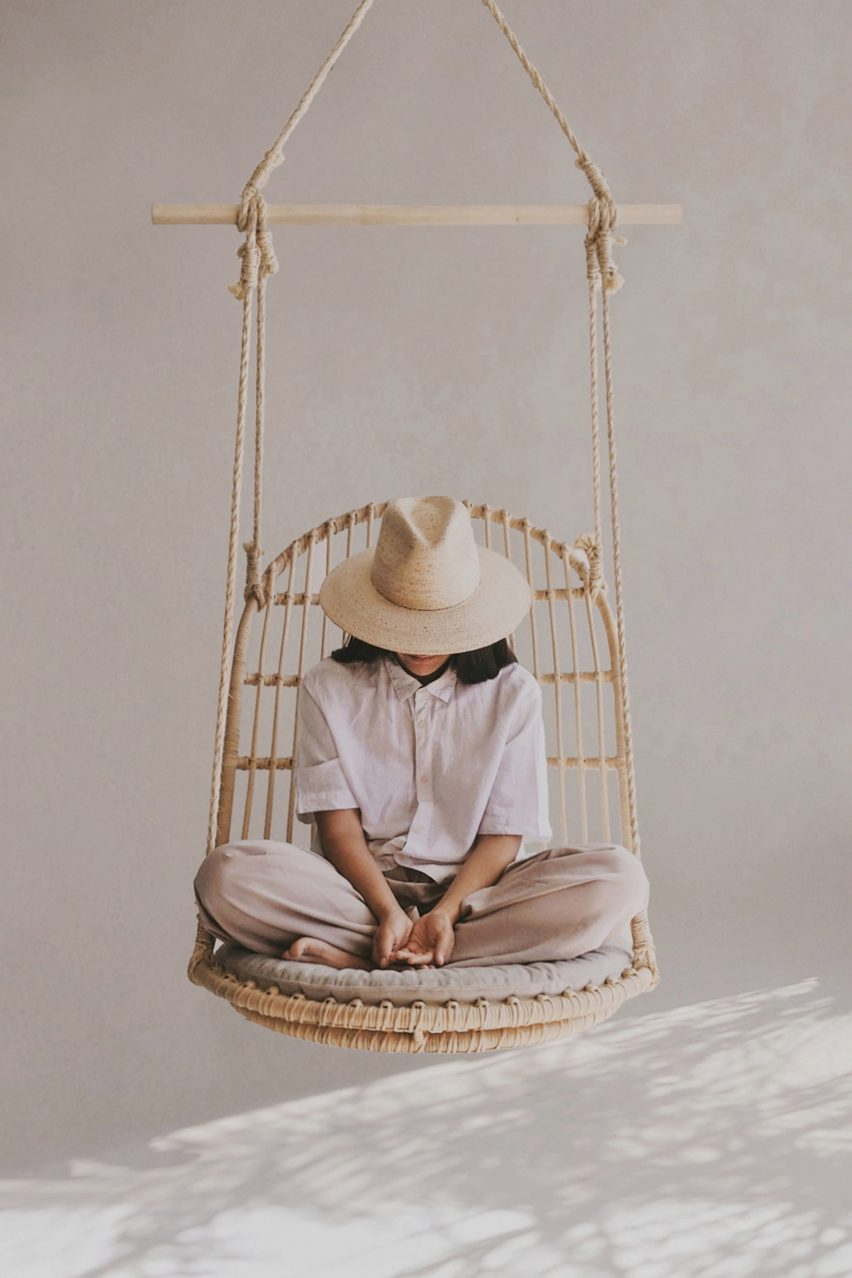 Hanging rattan chair by Christian Vivanco for Balsa