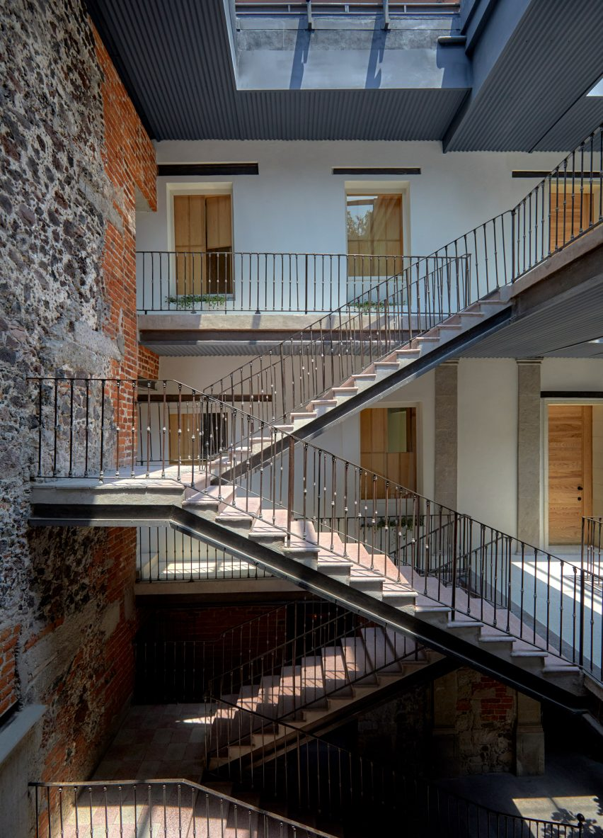 Staircase of Circulo Mexicano hotel in Mexico City by Ambrosi Etchegaray