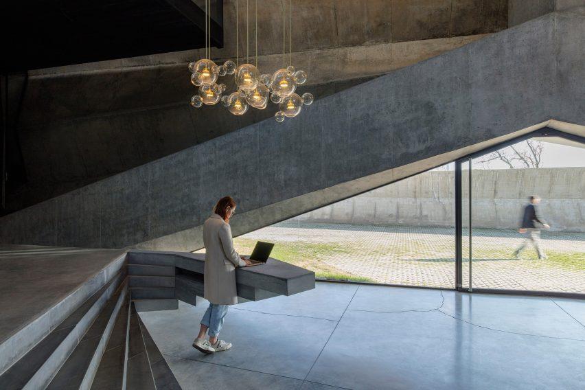 Reception desk of Coffee Production Plant by Giorgi Khmaladze Architects