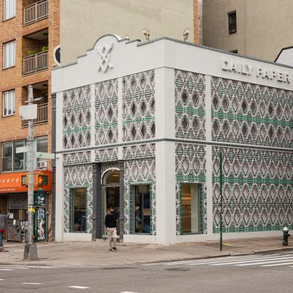 Recycled cans cover Daily Paper store in New York