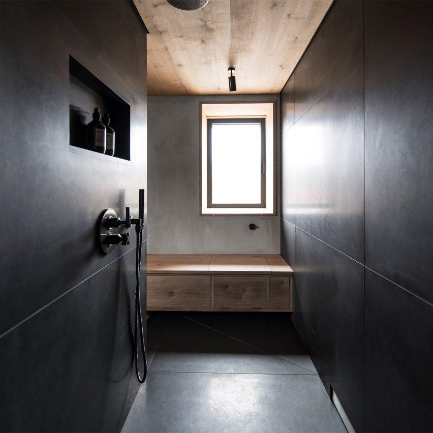 Dark bathroom inside Kyle House, Scotland, by GRAS