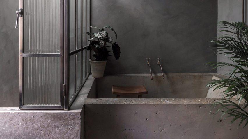 Dark bathroom inside Bathroom of Untitled House, UK, by Szczepaniak Astridge