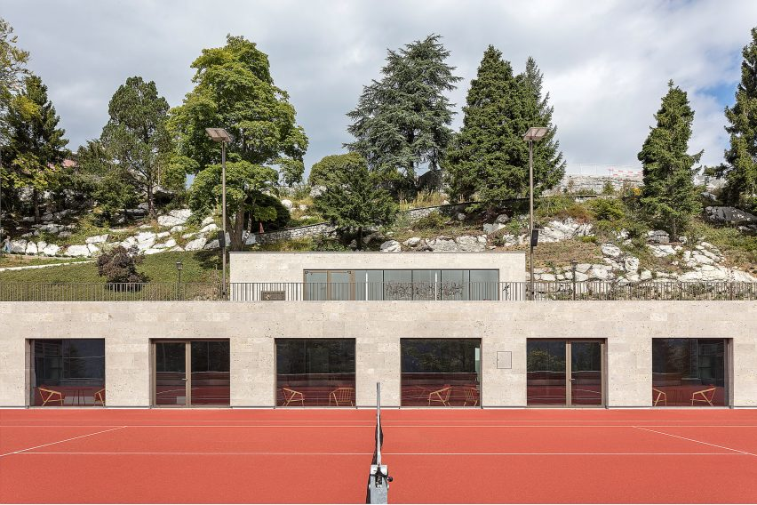 Club house of Diamond Domes tennis courts designed by Rüssli Architekten with CLT roofs by Neue Holzbau in the Swiss Alps