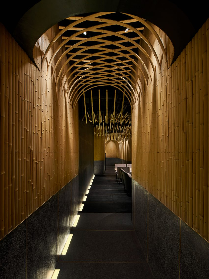 Dongshang bar features bamboo and terrazzo walls