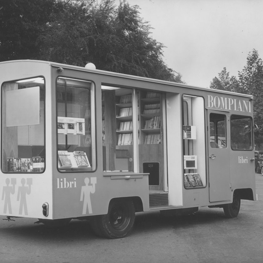Travelling bookcase for Bompiani, 1956
