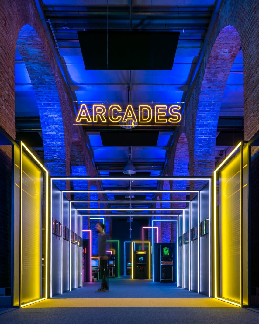Neon signs in Game On's exhibition design by Smart & Green Design
