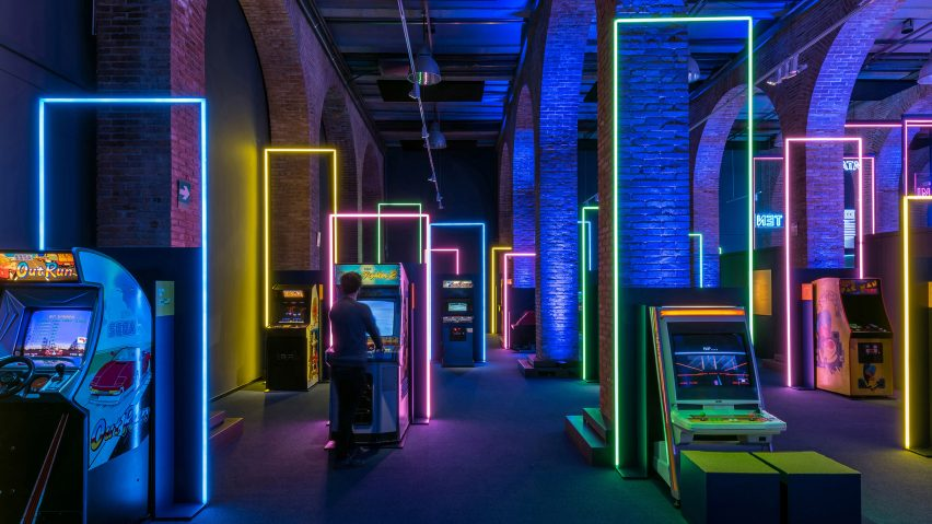 LED frames in Game On's exhibition design by Smart & Green Design
