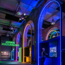 LED arches in Game On's exhibition design by Smart & Green Design