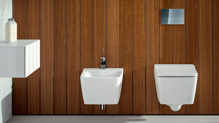 Geberit's Sigma80 actuator plate in a bathroom