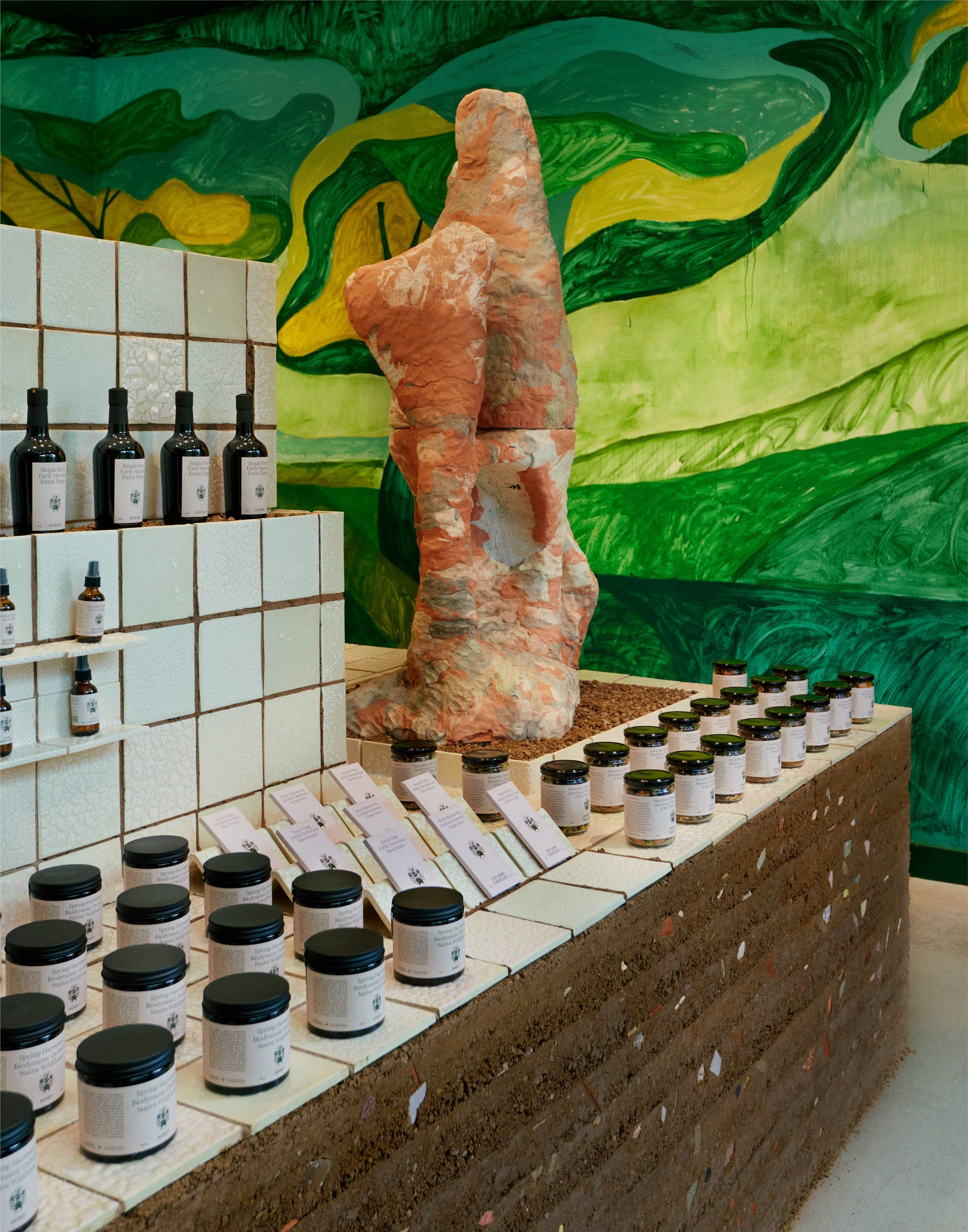 Flamingo Estate's Harvest Shop pop-up features rammed-earth counter