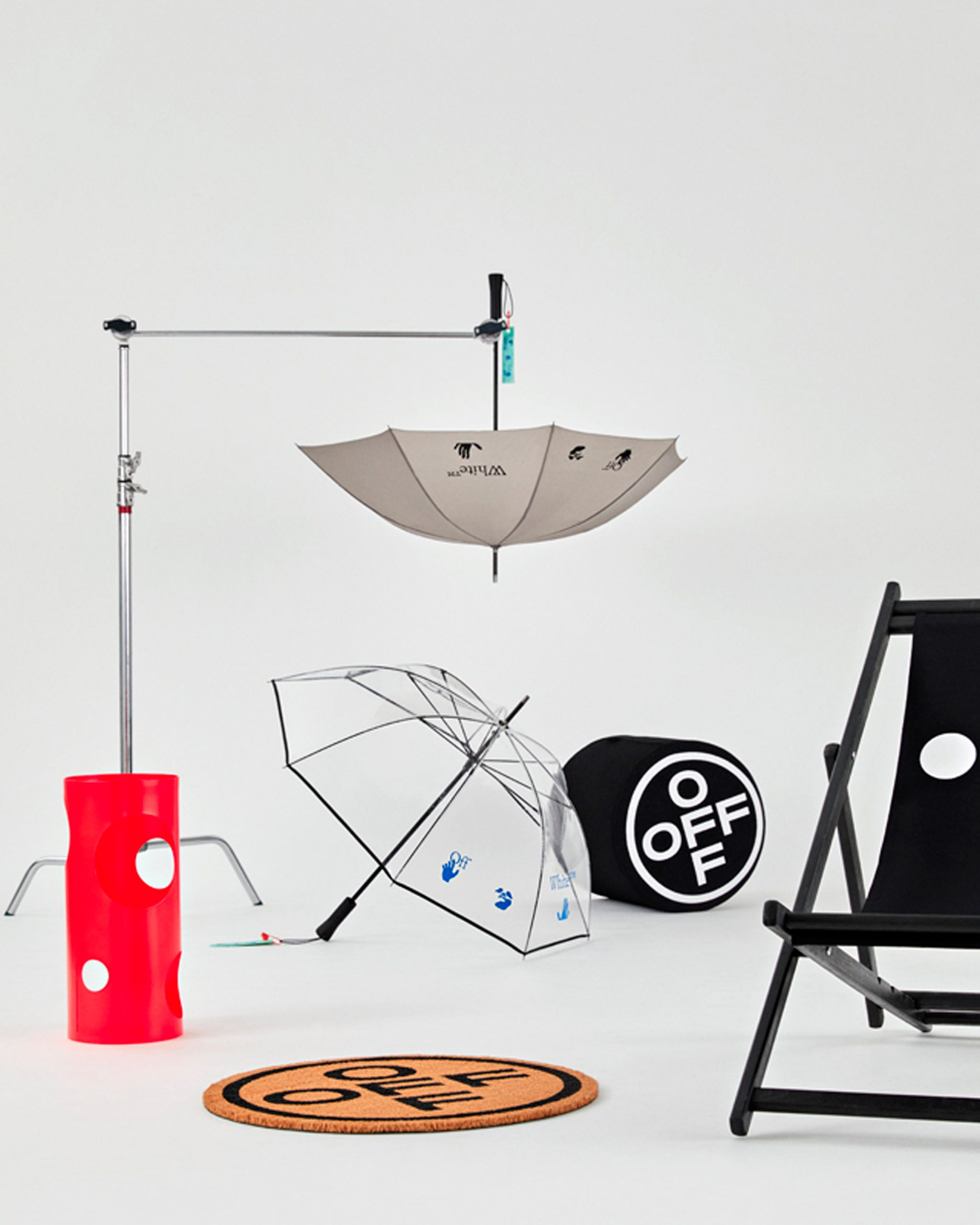 Doormats, umbrellas and umbrella stands in HOME collection by Off-White
