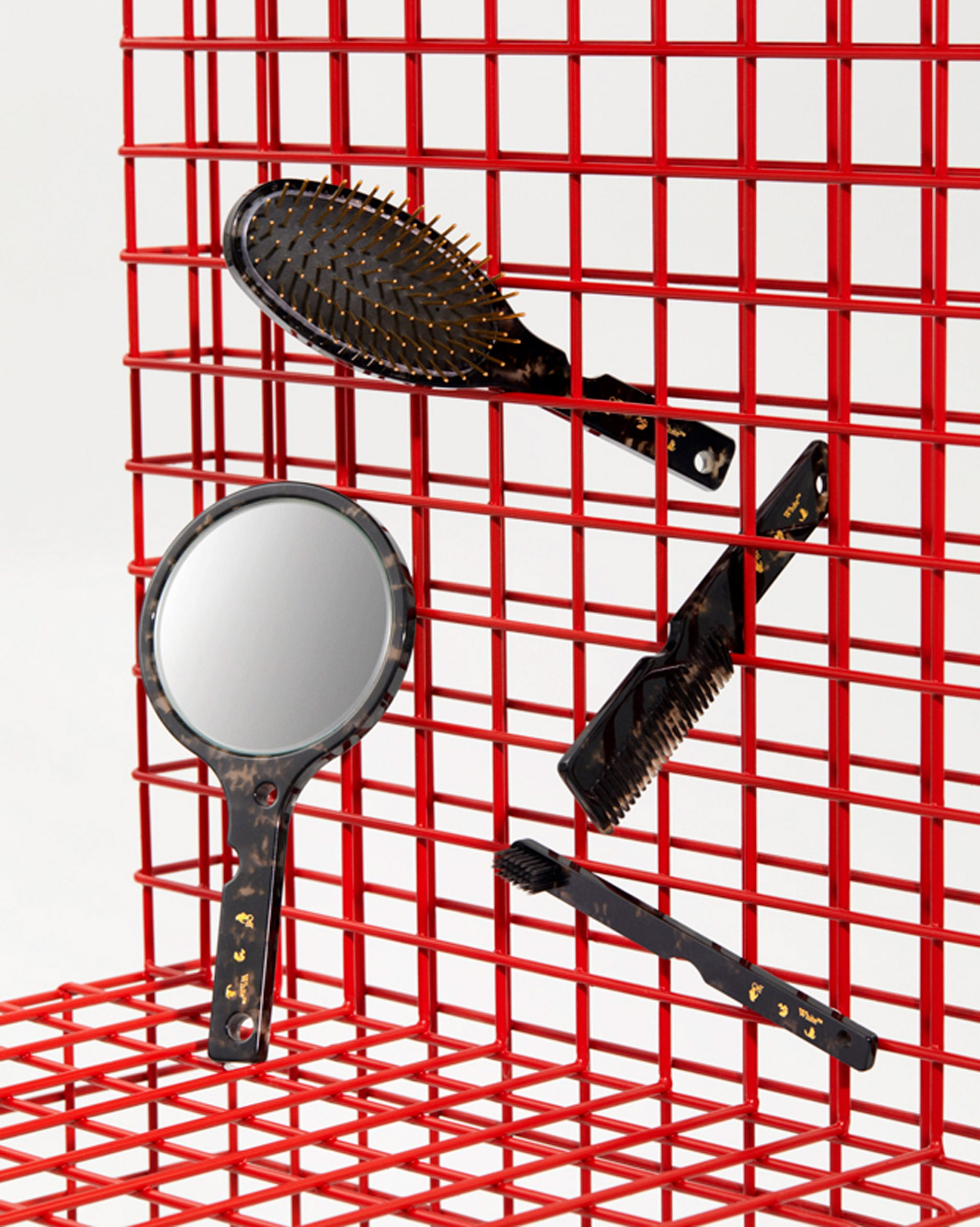 Hand mirror, brush, comb and toothbrush in HOME collection by Off-White