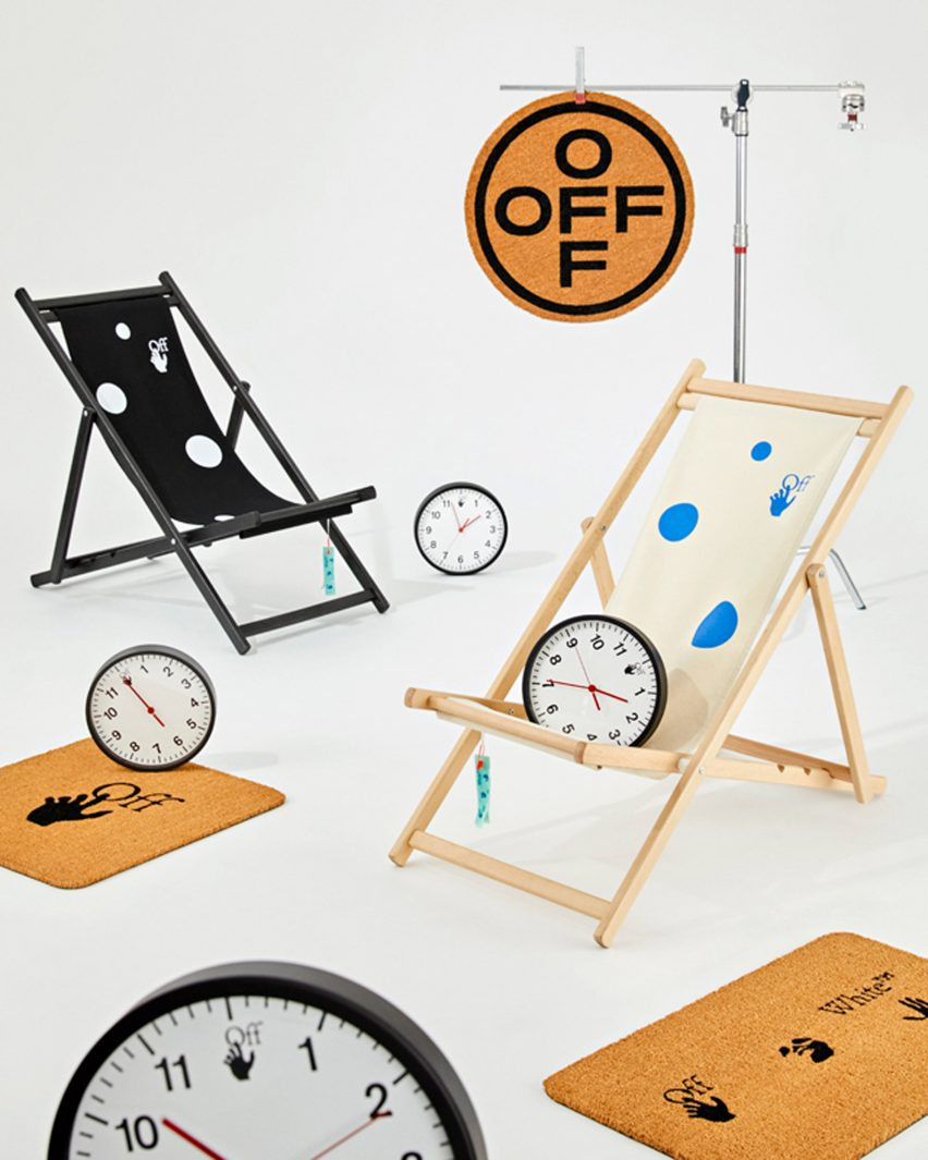 Doormats and clocks in HOME collection by Off-White