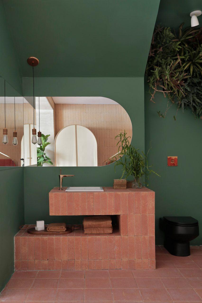 Green coloured bathroom