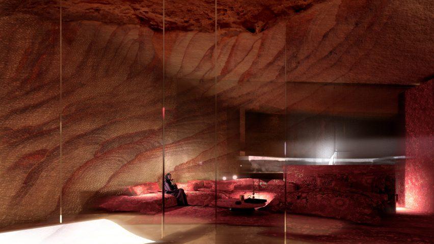 Hotel bedroom with sandstone walls