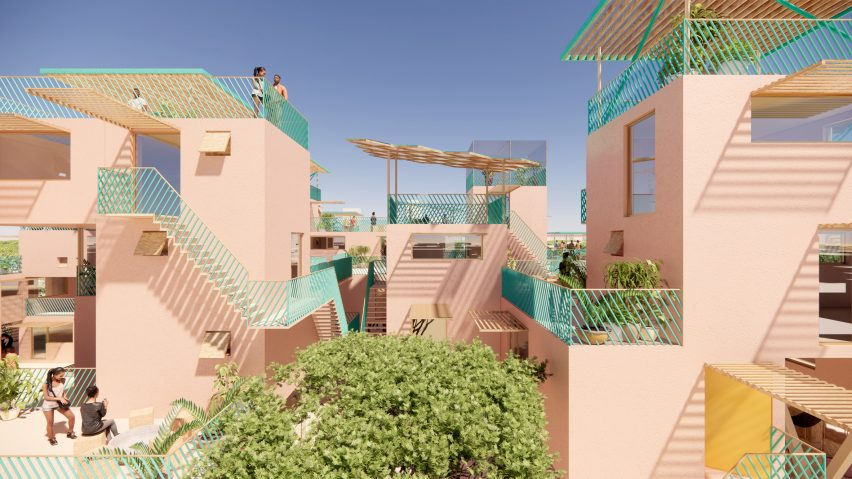 Balconies at recycled plastic houses by Julien de Smedt and Othalo