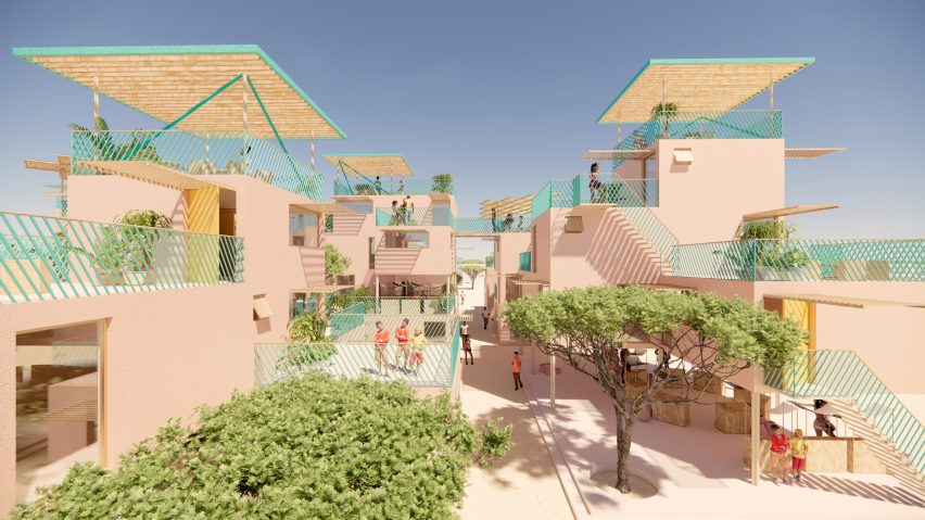 View of recycled plastic houses by Julien de Smedt and Othalo