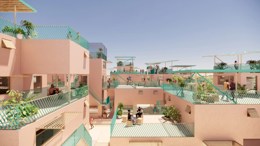 Neighbourhood of recycled plastic houses by Julien de Smedt and Othalo