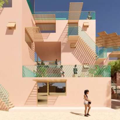 Houses made from recycled plastic by Julien de Smedt and Othalo