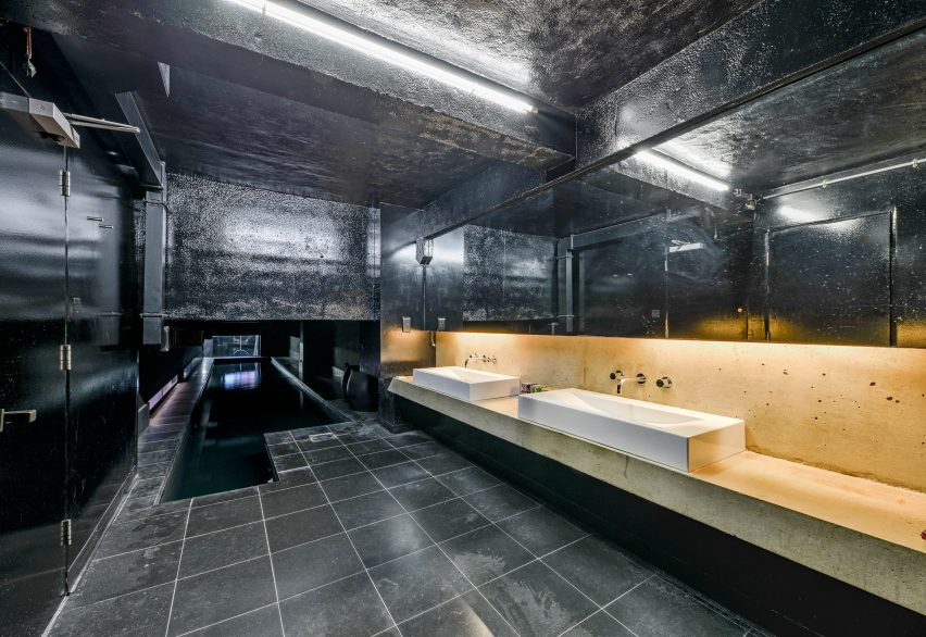 Sinks and pool of Interiors of Lost House by David Adjaye