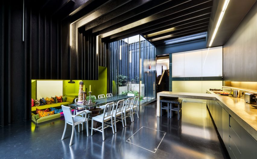 Kitchen with concrete counter tops in Lost House by David Adjaye