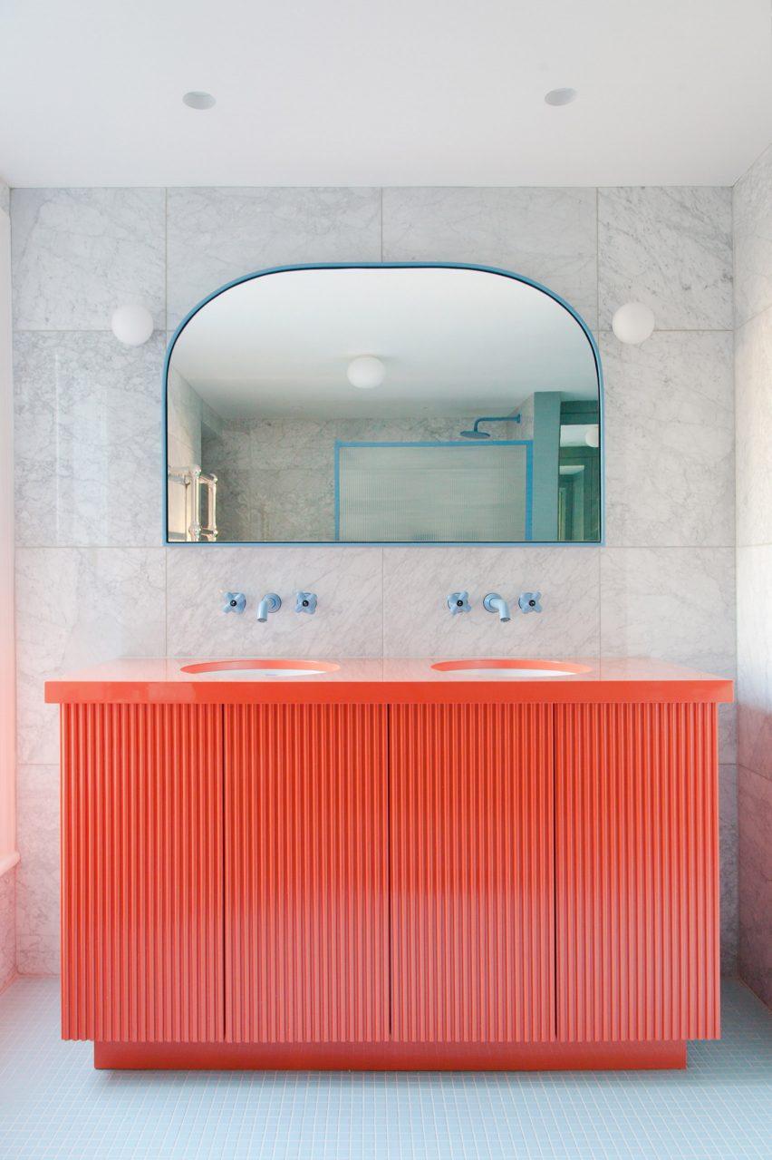 Coral vanity unit