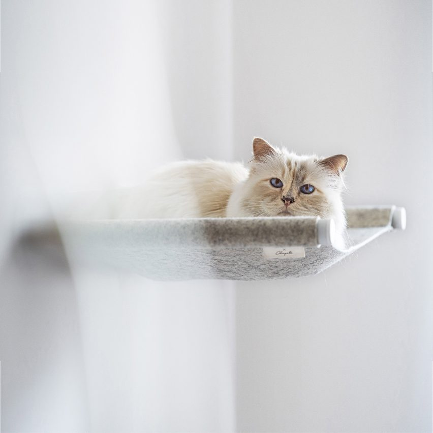Swing cat bed by Choupette the cat and German pet furniture designers LucyBalu