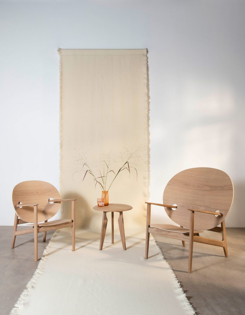 Mac Collins' Iklwa chairs and table in white oil