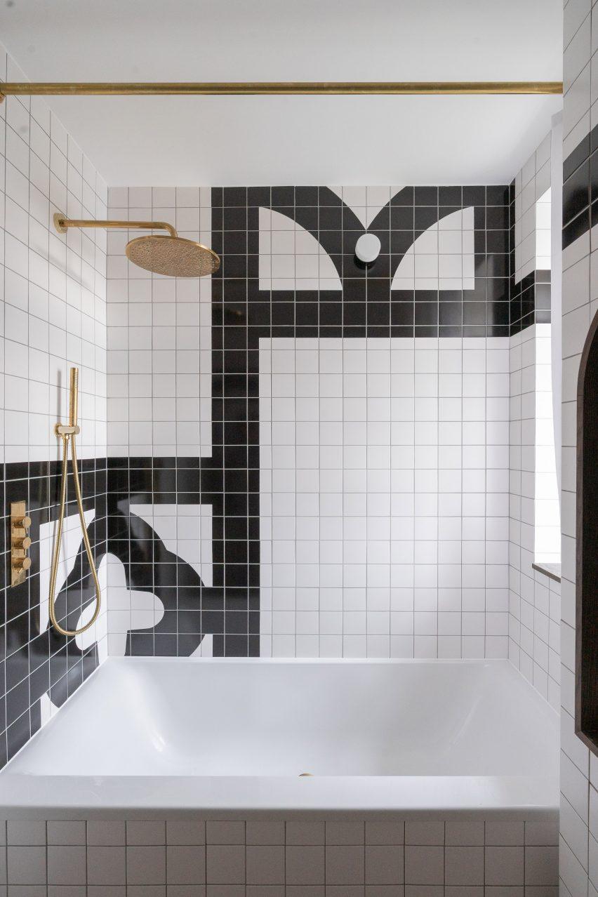 Bathroom with mock-Tudor tiles