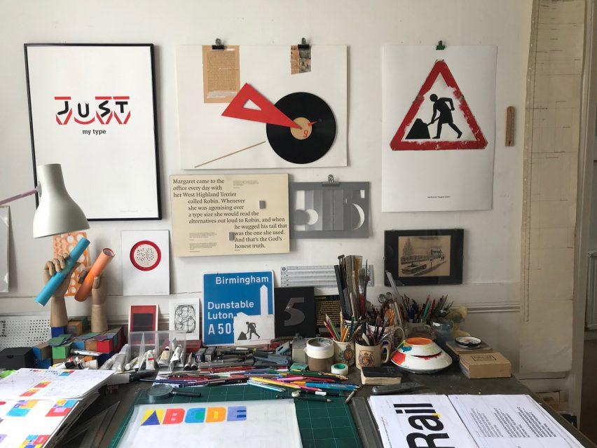 Calvert's studio with the typeface on desk