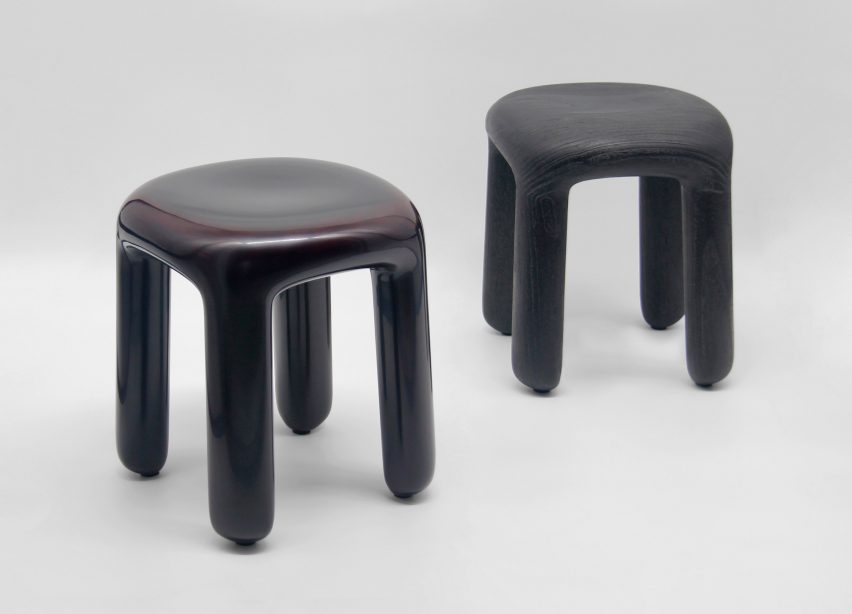 Ming Design Studio created its Bold stool series using wood coated in lacquer