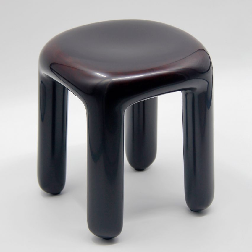 Ming Design Studio coats plump Bold stool in layers of shiny lacquer