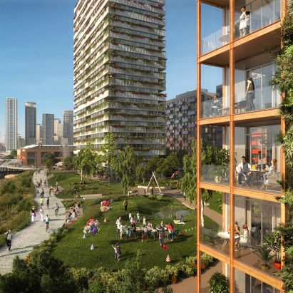 Visuals of Morden Wharf neighbourhood in London by OMA
