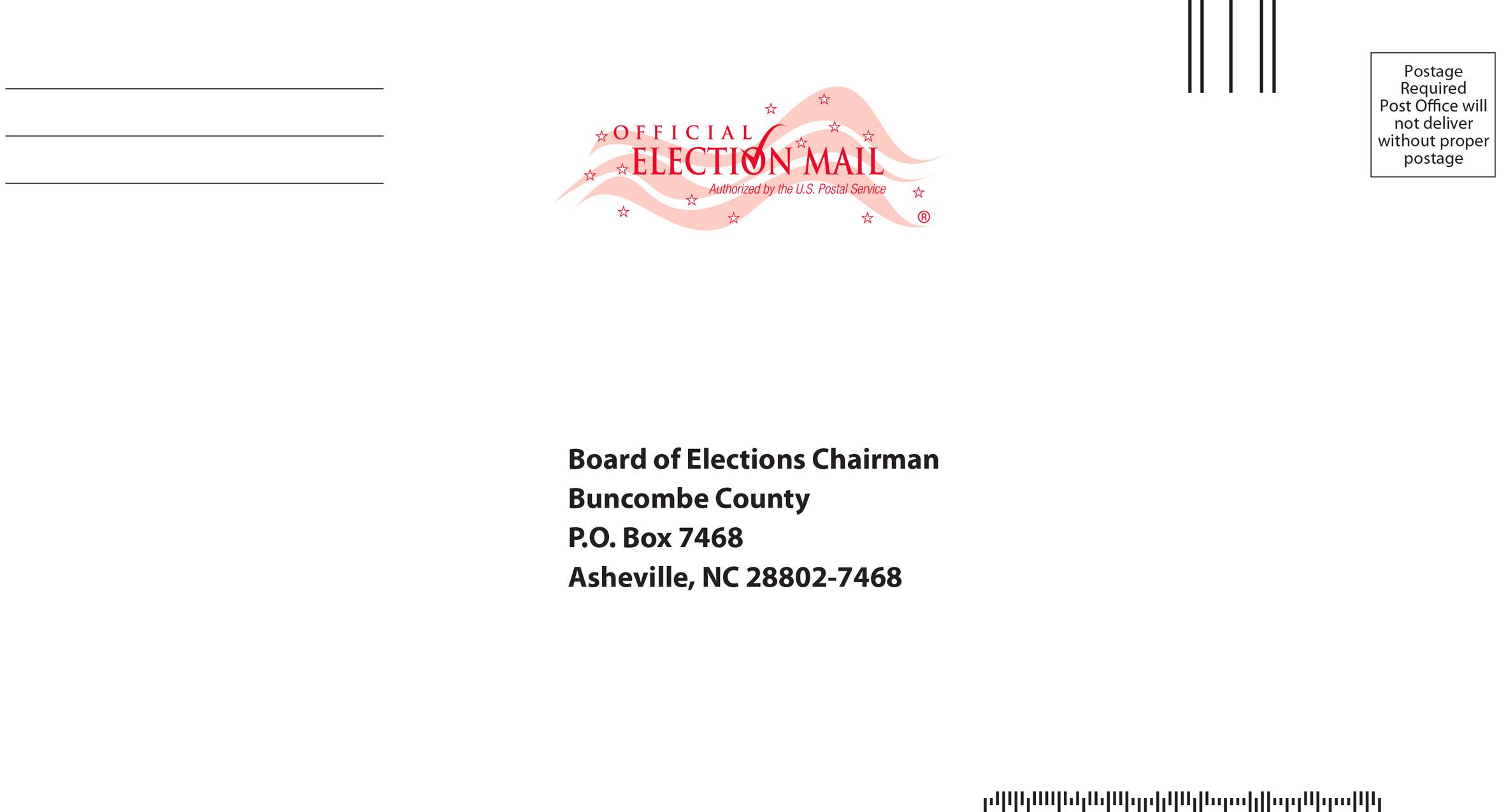 North Carolina mail-in envelope