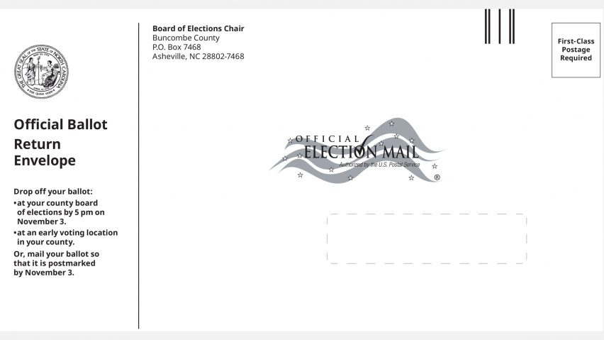 North Carolina mail-in envelope